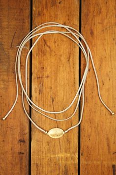 Sueded Cord Hammered Plate Bolo Necklace