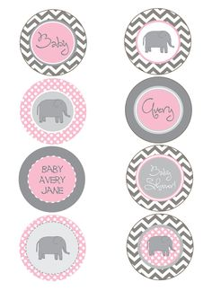 pink and grey baby shower  | Elephant Pink and Gray Chevron Baby Shower by PaperEtiquette