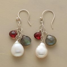 """THREE GEMS EARRINGS--Garnets and labradorites echo the iridescent hues emanating from cultured coin pearls. Ours exclusively in sterling silver with French wires. Handcrafted in USA. 1-1/2""""L."""