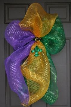 Mardi Gras Fleur de lis shaped Door Decoration simply made with deco mesh