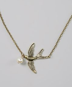 Another great find on #zulily! Gold Pearl Bird Pendant Necklace by Bubbly Bows #zulilyfinds