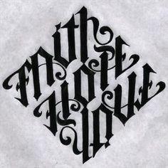 Faith hope love ambigram