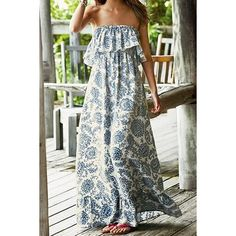 Vintage Strapless Flounce Printed Maxi Dress For Women