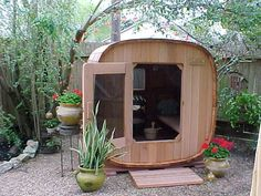People have been enjoying the benefits of saunas for centuries. Spending just a short while relaxing in a sauna can help you destress, invigorate your skin Saunas, Barrel Sauna, Portable Sauna, Aspen House, Outdoor Sauna, Sauna Design, Steam Sauna, Sauna Room, Property Design
