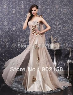 Find More Evening Dresses Information about Elegant Long Flowing Chiffon Side Open Appliqued Champagne Formal Evening Dresses #Long Evening Dress#