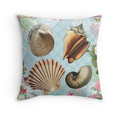 Sea Shells Home Decor Beach Throw Pillow by PeggyCollinsPhotoArt