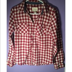 Red and white flannel Loose fit, light flannel with adjustable buttoned sleeves. Worn once. Size medium! Forever 21 Tops Tees - Long Sleeve