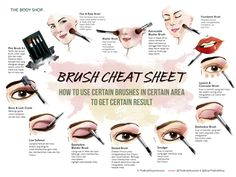 ever wondered which makeup brush is for your eyes, for your brows, or have no idea at all? this Brush Cheat Sheet from The Body Shop Indonesia will help you answer that question.*actually this is different from the published work, the published work doe… Body Shop At Home, The Body Shop, The Face, Face And Body, Beauty Care, Beauty Hacks, Beauty Tips, Beauty Box, Beauty Trends