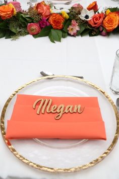 Gold rimmed plate with personalized wooden name + place setting from an Elegant Floral Bridal Shower Brunch on Kara's Party Ideas | KarasPartyIdeas.com | #bridalshowerideas #bridalshower #karaspartyideas