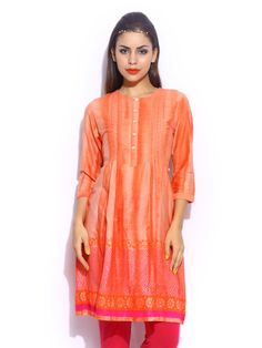 Omana by Kavita Bhartia Women Orange Printed Silk Blend Kurta