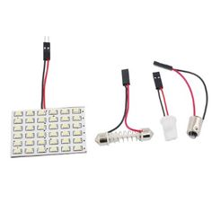 White 3528 SMD 36 LED Car Interior Dome Light Panel w T10 BA9S Adapter