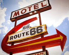 Route 66 Motel Neon Vintage Sign  Retro Home by RetroRoadsidePhoto