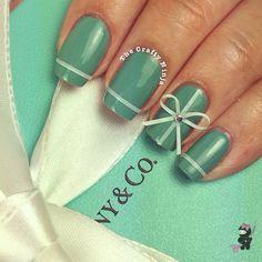 Beautiful Tiffany Inspired Nails by The Crafty Ninja