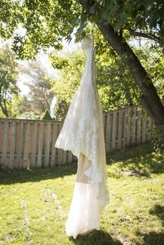 This gorgeous wedding gown was featured on Say Yes to the Dress! This is one of my favourite shots, hanging in the backyard before a Toronto wedding