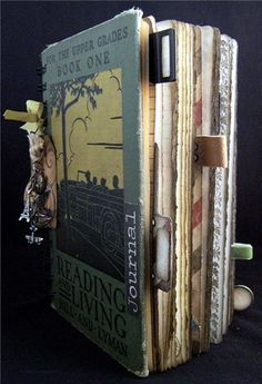 Travel journal - Make tabs out of random items. Art Journal Pages, Journal Covers, Art Journals, Handmade Journals, Handmade Books, Altered Books, Altered Art, Diys, Art Journal Tutorial