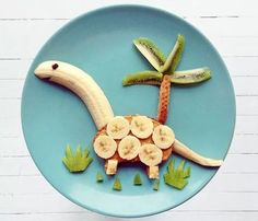 50+ Kids Food Art Lunches - Peanut Butter Dino