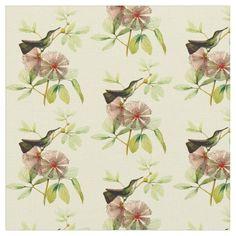 Vintage White Bellied Emerald Hummingbird Fabric