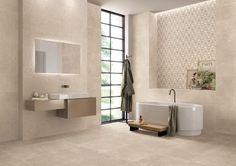 Milestone tile collection by Emilceramica Taupe Bathroom, Modern Bathroom Tile, Bathroom Tile Designs, Minimalist Bathroom, Bathroom Colors, Small Bathroom, Bath Tiles, Bathroom Goals, Bathroom Renovations