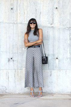 Pantacourt e tons de cinza, inspiração, street style, pantacourt estampada,