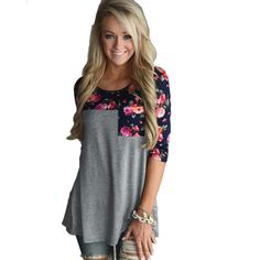 Fashion Women T shirt Ladies 3 4 Sleeve Floral Printed Tee Shirts Casual Female Clothing Patchwork on http://ali.pub/5kuy3