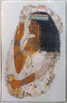 Limestone, painted with gesso of the Lady Tjepu, 18th Dynasty, reign of Amenhotep III from tomb 181 at Thebes. Ancient Egypt
