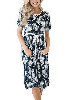 7b00fd45f7c6c Lovezesent Women Summer Crewneck Short Sleeve Floral Printed Pockets Midi  Dress