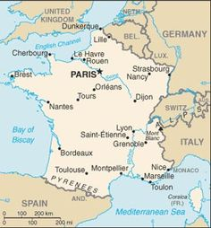 very simple yet effective map of france showing its position in relation to its neighbours in western europe