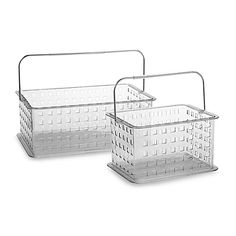 These Zia Storage Baskets from Interdesign are ideal for carrying your toiletries to the shower or for simply organizing makeup and other items at home. Each basket has several small holes on the bottom and small holes on the sides as well.