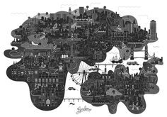 London London Illustration, Graphic Design Illustration, Illustration Art, London Poster, London Map, Identity, Layout, Black And White Illustration, Art Design
