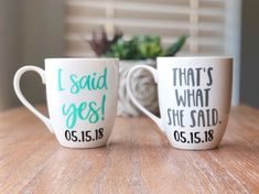 I Said Yes & That's What She Said Coffee Mugs, Engagement Gift for Couple, Engagement Mugs Love these funny mugs as engagement gifts for couples! Perfect for celebrating your favorite newly engaged couple! Perfect Engagement Gifts, Engagement Mugs, Engagement Gifts For Couples, Engagment Shirts, Thank You Gifts, Gifts For Him, Fun Gifts, Craft Gifts, Diy Projects For Couples