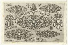 Josef Friedrich Leopold   Acht ontwerpen voor juwelen, negen insecten en drie bladranken, Josef Friedrich Leopold, 1695   Blad 8 uit serie van 17 bladen.