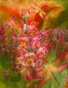 Summer Dragons by Carol Cavalaris. Prints available at Fine Art America. Across the fields you go So wild and bright Your petals and wings aglow How vibrantly you grow And take flight Like summer dragons Painting in magic and sunlight.  Summer Dragons prose by Carol Cavalaris  This painting of orange, pink, peach and yellow snapdragons, with matching dragonflies, celebrating the joy of Summer, is from the Language Of Flowers collection by Carol Cavalaris.