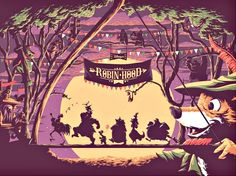 """""""oo de lally!"""" by florey (privately commissioned screenprint w/ eight colors (honoring disney's robin hood))"""