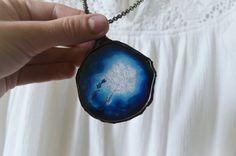 huge AGATE necklacenavy blue necklacestone by ZokaKurylov on Etsy