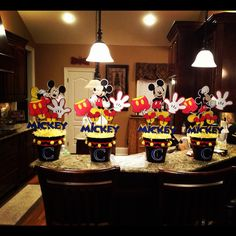 Mickey Mouse centerpieces for Coen's 1st Birthday!
