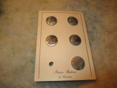 """Lot 5 Vintage Pewter Buttons by Christina-3/4""""-Grapes Hydrangea or Lilac Flowers"""