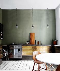 Modern Kitchen Design : slate-green wall color with brass cabinets kitchen Kitchen Interior, New Kitchen, Kitchen Decor, Gold Kitchen, Kitchen Colors, Kitchen Grey, Kitchen Modern, Olive Kitchen, Cheap Kitchen