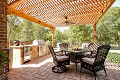 Outdoor Living Spaces with Kitchen http://www.DFWImproved.com #OutdoorLiving