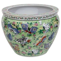 Exquisite Chinese Antique Famille Verte Porcelain FIsh Bowl / Jardinière, Circa Late 1880's-early 1900's