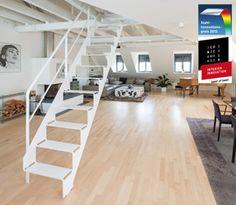 schnittgutttreppe cut it 7.0 von spitzbart treppen, stahltreppe, weiße treppe, treppe, metalltreppe, innentreppe