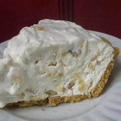 Million Dollar Pie | This is a great recipe for a quick pie that does taste like a million bucks. My sister has been making this every Thanksgiving since she was 11. Very easy preparation. The recipe calls for 2 graham cracker crusts, but we have also made it with the chocolate crumb crusts as well. They are delicious as well
