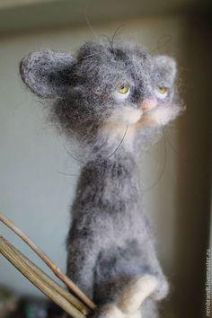 Купить Кот по имени Шпрот) - серый, кот, шерсть #feltedcat