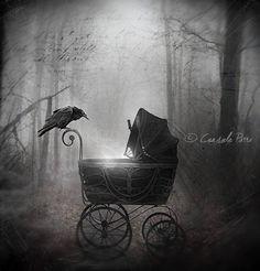 """Crows Ravens: Raven ~ """"Birth In the Darkness,"""" by Aeternum-Art, at deviantART. Dark Fantasy, Fantasy Art, Raven Art, Crow Art, Photo D Art, Crows Ravens, Goth Art, Dark Gothic, Dark Beauty"""