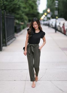 Stylish casual summer outfit idea with petite ankle pants and a ruffle tee