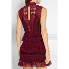 Self-Portrait Tiered guipure lace mini dress (33400 RSD) ❤ liked on Polyvore featuring dresses, see-through dresses, short purple dresses, purple dress, purple cocktail dresses and lace mini dress