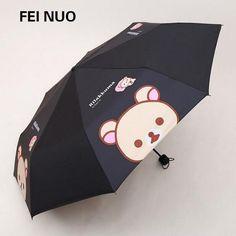 Umbrella Woman Rain Dual-Use Cartoon Sun Umbrella 3 Folding anti-UV Sunscreen Parasol Bear Animals Children Umbrella