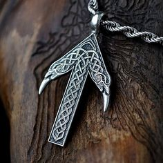 Sterling Silber TIWAZ / TYR-Rune Viking Amulett Anhänger nordischen Talisman