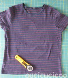 Questo tutorial mostra come fare la fettuccia con le tue magliette vecchie o macchiate. La puoi usare per i lavori a maglia (ai ferri) o con l'uncinetto.