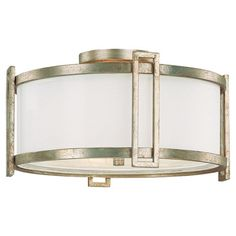 Flush mount with a frosted glass diffuser.  Product: Flush mountConstruction Material: Steel, frosted glass and organ...