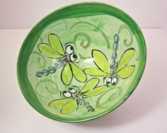 Ceramic  Majolica Pottery Clay Serving Handmade Bowl Earthenware Blue Green Dragonfly. $45.00, via Etsy.
